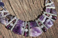 Length 18 inc/ 46 cm  Luxury amethyst statement necklace of amethyst remarkably suitable for elegant evening dress to the floor, as well as under the blouse. It can decorate the most usual strict dress and fill it with elegance. This purple big amethyst necklace is simply impossible not to feel special, refined, sophisticated, luxurious and of course the favorite. On any celebration of life, you will attract fascinated sight!  Collier really want to look at is infinite, so it natural bea...