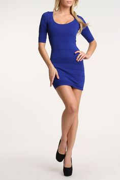 Wow Couture Beth Bandage Dress In Royal Blue