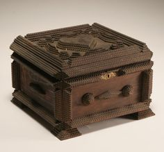 tramp art box with heart...