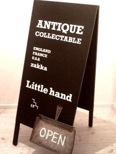 アンティーク雑貨 Little hand Sign Board Design, Open Signs, Business Signs, Chalkboard Art, Store Design, Farmers Market, Coffee Shop, Signage, Menu