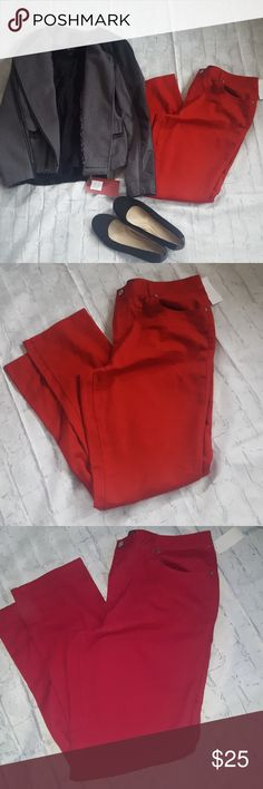 "NWT lipstick red skinny jeans NWT lightweight skinny jeans in a a rich red color.  I'm 5'9"" and they come to about ankle length on me. Coat and shirt sold separately in another listing. Cato Jeans Ankle & Cropped"