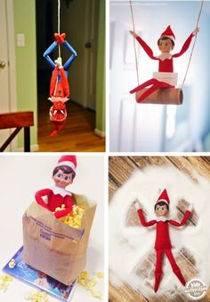 The Elf-on-the-Shelf is such a fun tradition for kids! What a great way to count down to Christmas with some goofy, silly, and even kind elf activities. Holiday Crafts, Holiday Fun, Holiday Decor, Seasonal Decor, Christmas Elf, All Things Christmas, Christmas Ideas, Funny Christmas, Christmas Photos