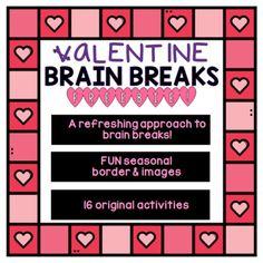VALENTINE Brain Breaks [Brain Gym] - FREEBIE! Fun Brain, Brain Gym, Brain Breaks, Spring Break, Teaching, Activities, Spring Break Vacations, Brain Training