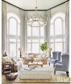 Traditional Neutral Living Room with Capiz-Shell Chandelier