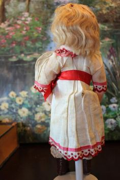 """All Original #2 Tete Jumeau, Bebe Bon Marche in original costume and original marked box! Only 11 1/2"""" tall, No hairlines or damage. No Repainting. Original mohair wig too! Leather boots."""