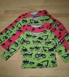 Omalle sekä kummipojalle PaaPiin kaavoilla paidat.  Vihreä kangas PaapPii-design ja punainen Kankaisista.