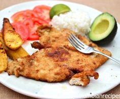 Chuleta de Pollo (Colombian-Style Breaded Chicken Breast) --- Very Good, lots of flavor, didn't put scallions in the sauce either Turkey Recipes, Fish Recipes, Mexican Food Recipes, Beef Recipes, Chicken Recipes, Cooking Recipes, Ethnic Recipes, Colombian Dishes, My Colombian Recipes