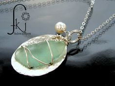 Natural Sea Glass Sterling Silver Pendant, Light Green with Fresh Water Pearls - FKJewelryDesigns