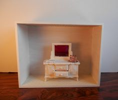 Items similar to Shabby Chic Filled Vanity on Etsy Shabby Chic, Vanity, Miniatures, Projects, Blog, Etsy, Home Decor, Chic, Painted Makeup Vanity