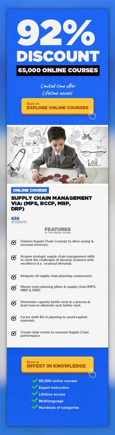 Supply Chain Management via: (MPS, RCCP, MRP, DRP) Operations, Business #onlinecourses #studytips #CoursesObstacle  Learn integrating & harnessing supply chain financially This course is unique in its approach, and objective to maximize learning and likelihood of implementation. It's loaded with bunch of numeric sessions avoiding pure phrases. A plethora of illustrative examples & exercises are ut...