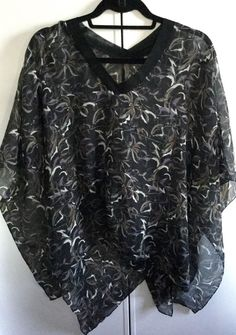 BEACH COVER UP WEAR OVER BATHING SUIT/TANK TOP SHEER PONCHO/ TUNIC ONE SZ NWOT #Kavita2 #croppedponcho #casualeveningresortcruise