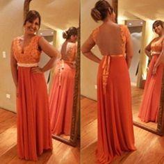 A-line V-Neck Sleeveless Natural Zipper Floor-Length Prom Dresses 2017