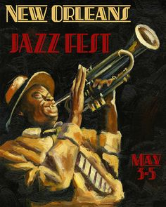 """Music 16""""x20"""" New Orleans Louisiana Jazz Festival Trumpet Player American Travel Vintage Poster Repro Paper/Canvas FREE SHIPPING in USA"""