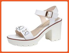 T&Grade Women Fashion Casual Open Toe Ankel Strap Platform Chunky High Heel Sandals(5.5 B(M) US, White) - Sandals for women (*Amazon Partner-Link)
