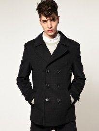 Wool Pea Coat In Houndstooth