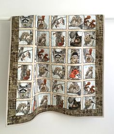 Toddler Quilt featuring Woodland Animals Brown Grey Tan Orange Black White by KimsQuiltingStudio on Etsy https://www.etsy.com/listing/458674200/toddler-quilt-featuring-woodland-animals