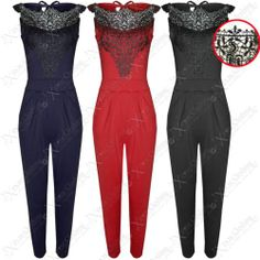 NEW WOMENS JUMPSUIT BLACK CROCHET TOP LADIES TROUSER SUIT LACE LOOK PLAYSUIT | #eBay #shopping #clothing #womens #fashion