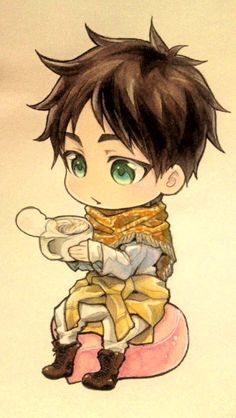 Attack On Titan; cute chibi Eren