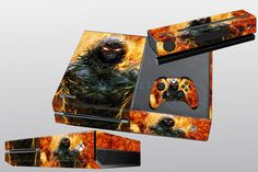 Latest On Fire Custom Sticker for X BOX One Console and Controller Skins Covers #UnbrandedGeneric
