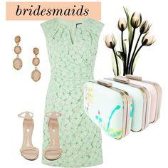 peach and mint bridesmaids by jaimevd on Polyvore featuring Adrianna Papell, Jeffrey Campbell, Blu Bijoux, peachweddings and peachandmintbridesmaids