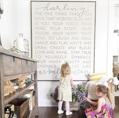 Kitchen Wall Decor we love this gorgeous farmhouse playroom touch with the wall art of words and mea Deco Kids, Farmhouse Signs, Farmhouse Decor, Farmhouse Toys, Farmhouse Artwork, Modern Farmhouse Bedroom, Little Girl Rooms, Kid Spaces, My New Room