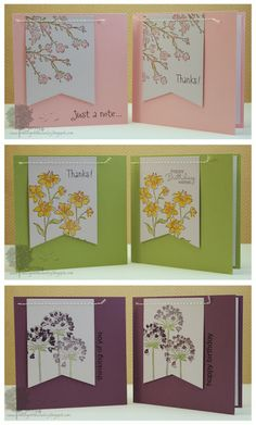 handmade notecard set from Crafting in the Country  ... light and bright base cards ... wide fishtail banner machine sewed across the top to attach ... lovely flowers stamped and color ... fun set fits into a handmade box ...