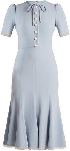 2971fc0c1888 DOLCE & GABBANA Short-sleeved fluted-hem cady dress light blue with white  buttons