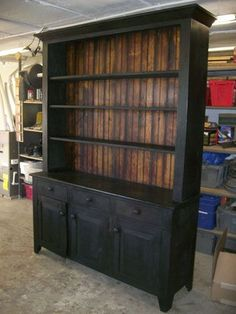 Black milk painted hutch (black brown combo for farm table and black hutch) This would look awesome with white dishes Furniture Projects, Furniture Making, Furniture Makeover, Painted Furniture, Diy Furniture, Refinished Furniture, Furniture Vintage, Furniture Design, Black Furniture