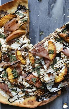 This peach prosciutto pizza recipe is a must-try this summer. The flavors of the peaches and prosciutto provide the perfect sweet and savory combination, and the addition of cheese and balsamic reduction will keep you going back for more slices!