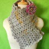 手紡ぎ毛糸のかぎ編みマフラー・ザクロの花・送料無料