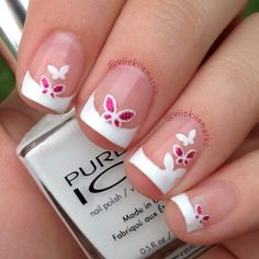 French tips. The butterflies are stickers.