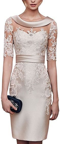 f84adf11083b Lilybridal Women s Short Lace Prom Mother of the Bride Dress with Sleeves  at Amazon Women s Clothing store