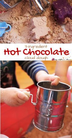 Hot Chocolate Cloud Dough - a winter sensory play experience that your children will love. Add old-fashioned baking tools for an added fine motor challenge. Cloud dough is so fun because it's silky and powdery soft to the touch, but can hold shapes. Sensory Tubs, Sensory Activities, Winter Activities, Sensory Play, Preschool Activities, Sensory Rooms, Motor Activities, Rainbow Activities, Nursery Activities