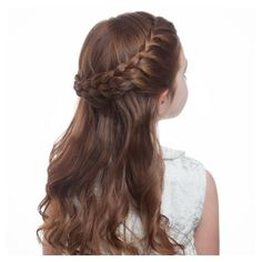 Flower Girl's Braided Half-Up-Half-Down Hairstyle ❤ liked on Polyvore featuring accessories, hair accessories, hair and hairstyles