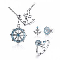 WOSTU 925 Sterling Silver Blue Ocean Cz Anchor Jewelry Collection w/ Necklace, Ring, & Earrings Anchor Jewelry, Ocean Jewelry, Nautical Jewelry, Silver Jewellery Online, Silver Jewellery Indian, Fashion Jewellery, Fashion Fashion, Pendant Jewelry, Jewelry Sets