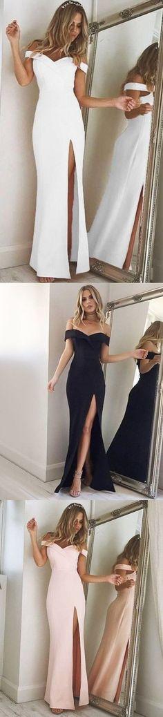 Elegant Off the shoulder White Mermaid Long Prom Dress with Slit M2001#prom #promdress #promdresses #longpromdress #2018newfashion #newstyle #promgown #promgowns #formaldress #eveningdress #eveninggown #2019newpromdress #partydress #meetbeauty #mermaid #offshoulder #white #slit