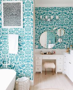 Bathroom decor for the master bathroom remodel. Learn master bathroom organization, bathroom decor a few ideas, master bathroom tile ideas, master bathroom paint colors, and more. White Bathroom, Modern Bathroom, Bathroom Inspo, Bathroom Ideas, Eclectic Bathroom, Turquoise Bathroom, Bathroom Organization, Funky Bathroom, Bling Bathroom
