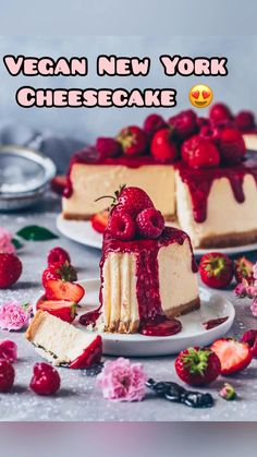 This Best Vegan New York Cheesecake is super creamy, absolutely delicious, and topped with homemade raspberry strawberry sauce! It's an easy Vegan Cheesecake Recipe that is dairy-free, egg-free, and the perfect dessert for anytime! New York Cheesecake Rezept, Vegan Cheesecake, Classic Cheesecake, Raspberry Sauce, Strawberry Sauce, Strawberry Cheesecake, Vegan Desserts, Vegan Recipes, Gastronomia