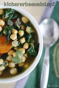 kichererbseneintopf. // nikesherztanzt #vegan #veggie #suppen #rezept #eintopf #kichererbsen Everyday Food, Black Eyed Peas, Chana Masala, Soups And Stews, Vegetables, Ethnic Recipes, Wordpress, Spinach, Mint