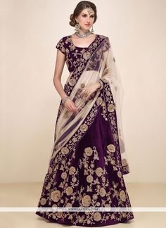 We have ensemble a symphony of enchanting piece to restyle your senses. Style and design and trend could be at the peak of your attractiveness the moment you attire this purple velvet a line lehenga c...