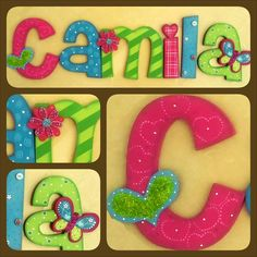 nombre Painting Wooden Letters, Diy Letters, Painted Letters, Wood Letters, Letters And Numbers, Foam Crafts, Diy And Crafts, Crafts For Kids, Arts And Crafts