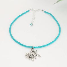 Hand Beaded Anklet  Teal Beach Anklet  Ankle Bracelet