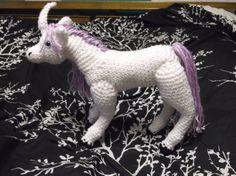 Big white unicorn with purple hair amigurumi crochet by SalemsShop