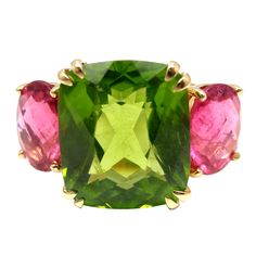 SEAMAN SCHEPPS Peridot Hot Pink Tourmaline Three Stone Gold Ring
