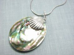 Nautical Abalone Necklace - Abalone Shell Pendant and Silver Scallop Shell Necklace - Silver and Abalone Seashell Necklace - Ocean Jewelry