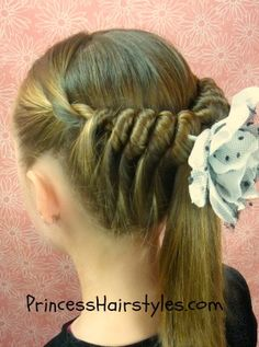 For your little princess.  spiral twist hairstyle video tutorial