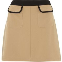 Camel A - Line Mini Skirt ($27) ❤ liked on Polyvore featuring skirts, mini…