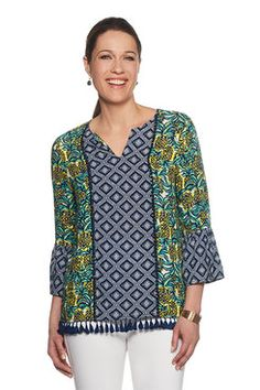 Shop our lively selection of Ruby Rd Missy tops. A variety of styles for all occasions including: sharkbite hem tops, bell sleeve tops, embellished tops, blouses, tees and shirts. Bell Sleeves, Bell Sleeve Top, Border Print, Embellished Top, Tees, Shirts, Blouse, Sweaters, Bright