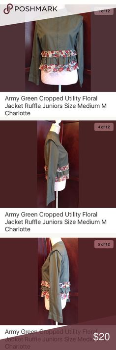 Army green utility jacket floral ruffles juniors M Charlotte Russe army green cropped Utility jacket  -long sleeve, pleated on shoulders, zip up front, green and floral ruffles on bottom  Condition: gently used  Measurements: juniors medium, shoulder 17, sleeve 22.5, chest 18, waist 17, length 21 Charlotte Russe Jackets & Coats