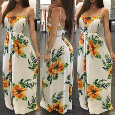 Hot Spaghetti Strap Open Back Pleated Floral Maxi Dress Trendy Dresses, Sexy Dresses, Cute Dresses, Dress Outfits, Casual Dresses, Fashion Dresses, Summer Dresses, Skater Outfits, Fashion Clothes
